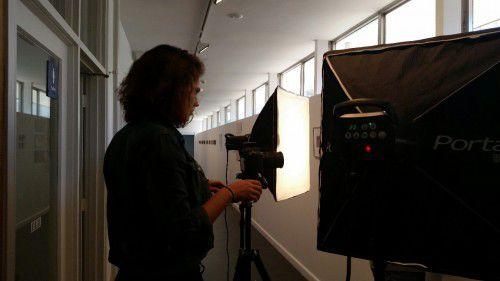 Yasmin Masri documenting her 2014 EEP exhibition in translation