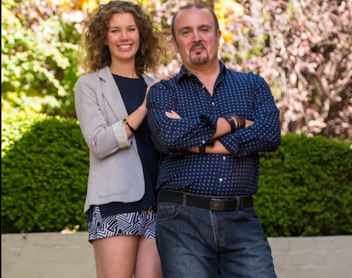 "Designer Erin Spain (wearing Ziyah shorts from her graduating collection) and photographer Robert Coppa... ""Erin's swimwear is glamorous and figure-hugging, but it defines a very different shape,"" says Robert. Photo by Andrew Finch"