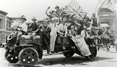 "Armistice Day celebrations, 1918… from ""The Home Front: Australia during the First World War"" exhibition at the National Museum."