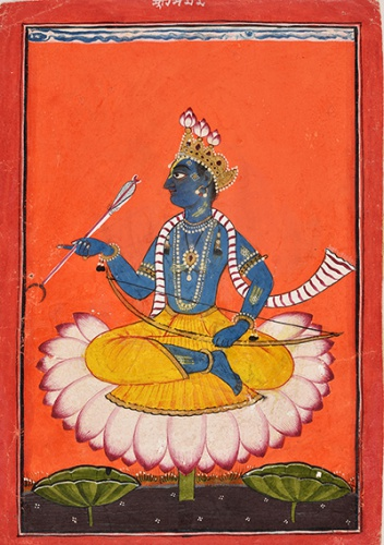 Basohli style, Pahari   The portrait of Rama c 1730 opaque watercolour and gold on paper National Museum, New Delhi