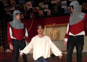 Ben Russell as Casanova,centre, and guards Bradley McDowell, left, and Teig Sadhana.