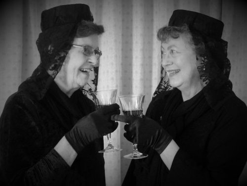 Lynne Seaman and Marian FitzGerald as aunties, Abbey and Martha Brewster
