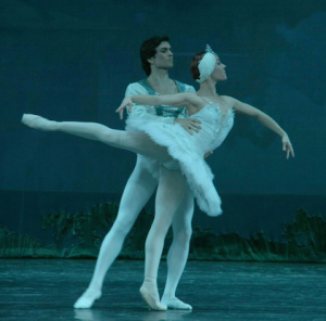 """Prince Siegfried with Odette, the white swan, in the Russian National Ballet Theatre's production of """"Swan Lake""""."""