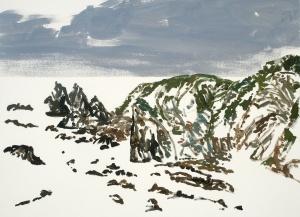 Andrew Sayers - 'Sea beaten rocks, Haywards Beach', gouache on paper.
