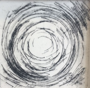 """""""Gamma trip"""", 10x10, drypoint print on hahnemuhle paper"""