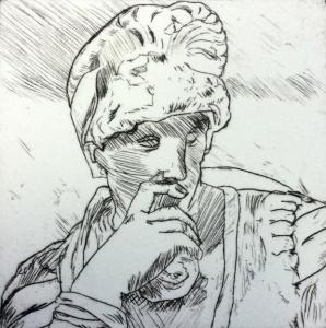 Dan Vukovljak, General Thinking 2015, etching.