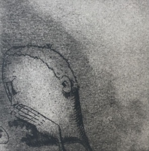 """""""Goss,"""" collograph and drypoint on cold pressed paper"""