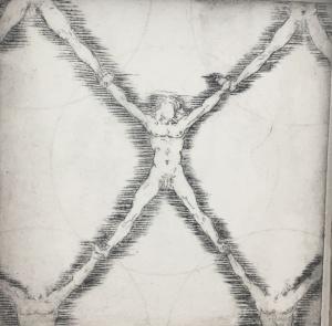 """Net Man after Da Vinci,"" 10x10, drypoint print on hahnemuhle paper"