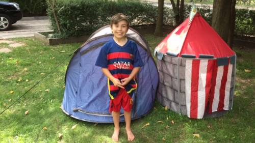Oscar Henderson, 8, and his troublesome tents.