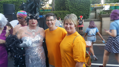 Liberals Brendan Smyth and Nicole Lawder, right, with Rachel at the Gay and Lesbian Mardi Gras.