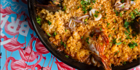 Paella with saffron, king prawns, fish, calamari _ mussels-2