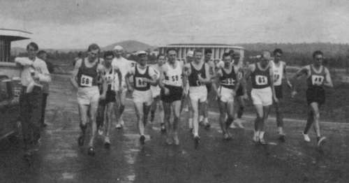 Canberra's first big walk… start of the 1967 Lake Burley Griffin Open 20-Mile Walk won by Frank Clark of NSW.