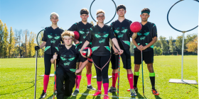 "Quidditch players, from left, Sophie Fitch, Bradley Taylor, Oscar Cozens, Merryn Christian, Logan Davis and Daniel Fox... ""The thing I love about quidditch is that you have to be a quick thinker – you need a good brain more than athletic skill,"" says Merryn. Photo by Andrew Finch"