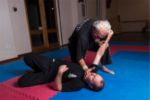 Kung fu instructor Neal Hardy with his oldest student, Graeme Quinn. Photo by Andrew Finch