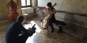 "Writer/director/cinematographer Scott Hicks filming cellist Sharon Draper in ""Highly Strung""."