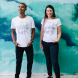 Models in the whale-inspired T-shirt.