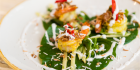 Prawn Betel Leaves with galangal, coconut and green mango in a nahm jim and coconut dressing