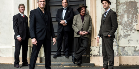 from left,  Guido Libido (Guy Freer), Little Ivan (Sam Martin), T.G. Muldavio (Phil Moriarty),  Rufino (Pip Branson) and Mikelangelo (Mikel Simic).