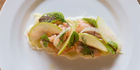 Hot smoked trout with  green apple and fennel. Photo by Andrew Finch