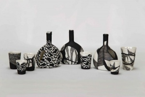 Maria Chatzinikolaki - porcelain bottles and beakers with underglazes and glazes