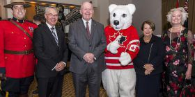 Peter Lambertucci High Commissioner Paul Maddison, Governor-General Peter Cosgrove and Lady Cosgrove wih Pierre Polar Bear and Fay Maddison