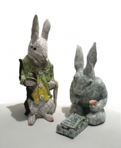 . Anne Cawsey, Two Rabbits (Canberra Potters Student & Teacher Exhibition)