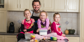 "James Clode, with daughters Charlotte, 7, Grace, 5, and Abigail, 3... ""The best part is the end, when we get to eat,"" says Charlotte. Photo by Andrew Finch"