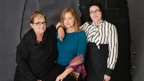 Lindy Chamberlain-Creighton, left, with actress Jeanette Cronin, who plays her in the play, and playwright Alana Valentine.