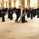 """Conductor Stephen Layton, far right, and the Choir of Trinity College Cambridge… """"I see myself as nurturing students to be part of a whole,"""" says Layton."""