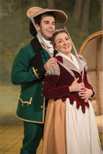 "Jeremy Kleeman as Figaro and Celeste Lazarenko as Susanna in Opera Australia's ""The Marriage of Figaro"". Photo by Albert Comper."