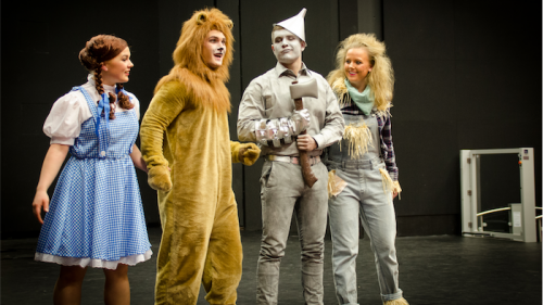 """Cast of """"The Wiz"""". from left,  Emily Claxton (Dorothy), Connor Haas (Lion), Jack Hirst (Tinman) and Tennay Burgess (Scarecrow)."""