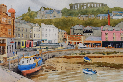 "Stuart Marshall's ""Oban""... watercolours on display at Gold Creek."