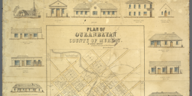 Queanbeyan map of 1862, published by architect, surveyor and engineer George Briand. The original - and only known copy to exist - is held by the Queanbeyan Museum.