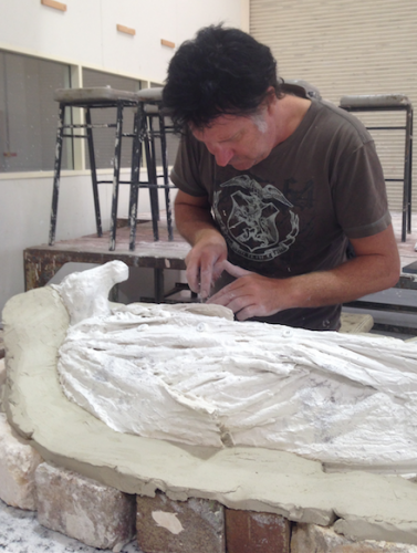 Canberra sculptor Stephen Harrison at work in his studio… accepted in the 2017 Sculpture by the Sea in Cottesloe, Perth.