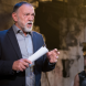 """Actor William Zappa, who plays King Creon, in """"Antigone""""... """"Close your eyes and you'll think of Aleppo and drones."""""""