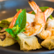 King prawns, artichoke and hommus. Photo by Andrew Finch