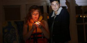 Matilda Ridgway and Shiv Palekar by torchlight