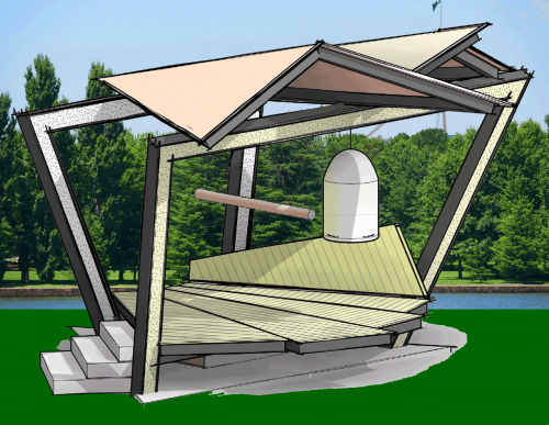The proposed pavilion for the Canberra World Peace Bell at the Canberra Nara Peace Park.