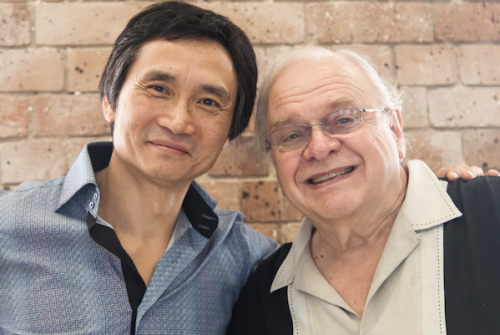 "Artistic director Li Cunxin, left, and eminent British-American choreographer Ben Stevenson at the Queensland Ballet's rehearsal for ""The Nutcracker"". Photo by Christian Tiger"
