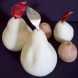 Prefired clay pears by Elisabeth De Koke