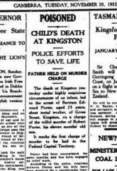 "A 1932 clipping from ""The Canberra Times"" reporting the death of baby Charles Porter."