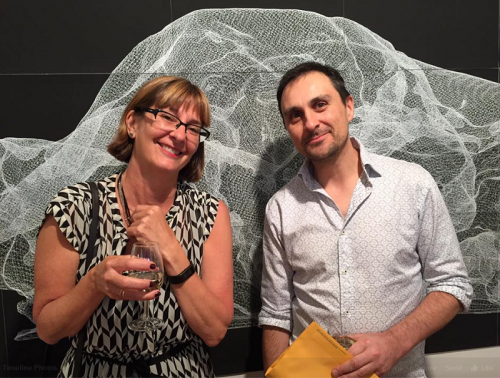 Artist Jay Kochel (right) with judge Professor Susan Best in front of his drawing Karesansui 1 machine drawing in pen on chalkboard paint on paper