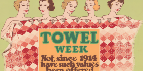"Teasing line-up of beauties for ""Towel Week"" from the '20s."