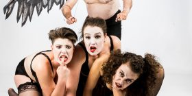 Party animals, Frances McNair, Lucy Matthews, Joe Woodward and Miriam Slater, photo by Workmanlike Images