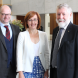 Dr Ruediger Krech, from the World Health Organization, left, ACT Health Minister Meegan Fitzharris and columnist Michael Moore, president of the World Federation of Public Health Associations.