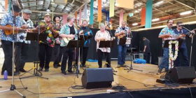 Members of the Ukulele Republic of Canberra… twanging in Ainslie on May 6.