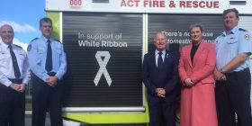 Mick Gentleman launches new White Ribbon themed fire pumper.