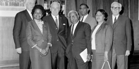 Lobbyists from the Federal Council for the Advancement of Aborigines and Torres Strait Islanders meet with Prime Minister Harold Holt in February, 1967. From left, Gordon Bryant MP, Faith Bandler, Harold Holt, Pastor Doug Nichols, Burnum Burnum (Harry Penrith), Win Branson and WC Wentworth MP. Photo courtesy of the National Archives