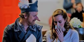 1_Damien Ryan and Lizzie Schebesta in Cyrano De Bergerac_rehearsal shots by Philip Erbacher
