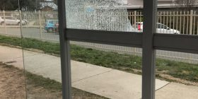 Damage to Canberra bus shelter.